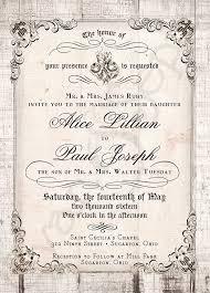 Printable 5x7 Wedding Invitation Antique Calligraphy Wood Or