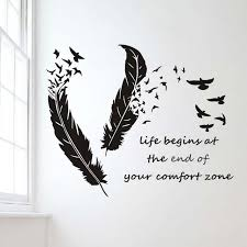 life begins at the end of your comfort zone quotes wall sticker