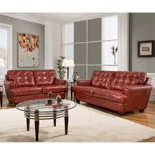 red leather living room furniture