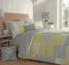 appletree yellow grey duvet cover patchwork reversible easy care quilt set 100 cotton parker