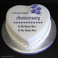 Heart Shape Anniversary Cake Pics With Name