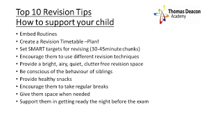 thomas deacon academy learning resources parent carer guide to y11 revision and exams
