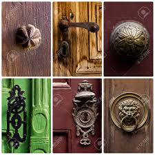 Backyards : Montage Old Door Handles Knobs And Knocker Stock Photo ...