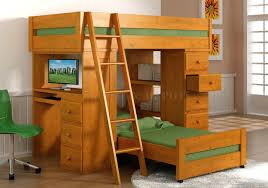 image of wooden bunk beds with desk