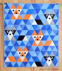 Fox & Friends Baby Quilt Pattern PDF Instant Download Fox & Fox & Friends Baby Quilt Pattern, PDF, Instant Download, Fox, Raccoon,  Triangle, KONA Solids, modern patchwork, blue, orange, black, grey. Adamdwight.com