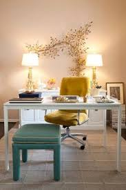 Decorating the office Chic Domicile Id Chic Eclectic Office Design With Gold Art Wall Sculpture White Desk Yellow Pinterest 44 Best Decorating The Office Images Desk Bedrooms Design Offices