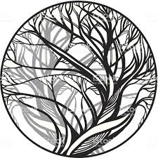 вектор эскиз для Tattooчерный и белый дерево стоковая векторная