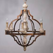 classic antique gold frame carved wood 6 candle lights rustic chandelier