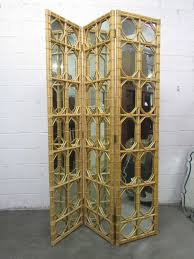 s  panel rattan and mirror floor screen room divider for sale