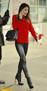 bethenny frankel in leather pants and very high heel shoes featuring bethanny frankel where