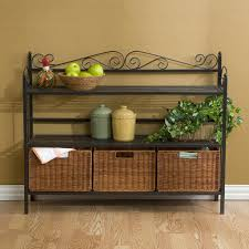Furniture:Breathtaking Black Iron Shelves Decor With Rattan Basket Storage  And Laminated Wooden Flooring Idea