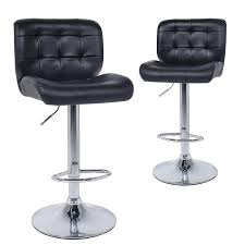 com wahson modern adjustable swivel bar stools with back contoured counter height hydraulic leather barstool chairs for kitchen set of 2 black