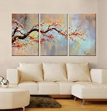artland modern 100 hand painted flower oil painting on canvas orange plum blossom 3  on 3 panel wall art flowers with amazon picture sensations framed huge 3 panel modern art