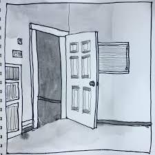 open door drawing. Open Door. Pen And Watercolor Drawing Door