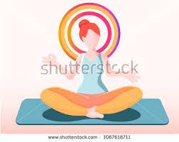 original yoga painting omwoman yoga meditate. Meditation. The Lotus Position. Fitness Trainer Yoga. Flat Isolated Vector Illustration Original Yoga Painting Omwoman Meditate