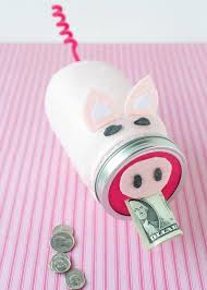9 mason jar craft of piggy bank