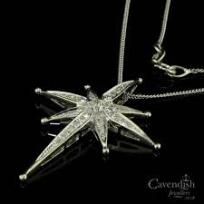 white gold and diamond set north star pendant necklace