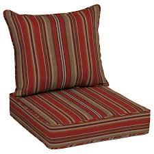 allen roth neverwet 2 piece priscilla stripe red deep seat patio chair cushion