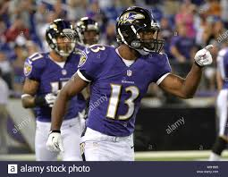 Baltimore Ravens Aaron Mellette celebrates after scoring a 40-yard  touchdown against the Atlanta Falcons during