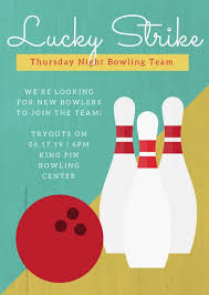 Lucky Strike Bowling Team Flyer Templates By Canva