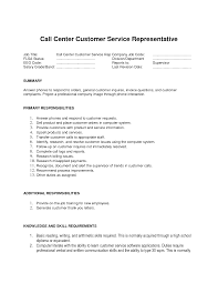 Call Center Representative Resume Sample Call Center Specialist Jobescription Resume Sample Objective For 1