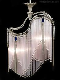an art nouveau style nickel plated ceiling light