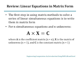 review linear equations in matrix form