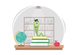 free cartoon bookworm in library