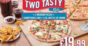 the dominos big tasty deal offers any 2 um pizzas 1 25lt bottle of drink 1 sumptuous side and the delicious lotta chocca pizza for just 22 49 if you