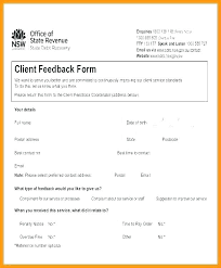 Service Feedback Form Template Customer Sample Questions Car