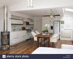 Oc Kitchen And Flooring Parquet Flooring In Modern White Galley Kitchen With Gray Fitted
