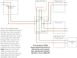 this is modified dsl wiring diagram notice that the line goes split directly junction box make