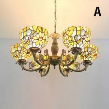 31 w erfly fl theme bowl design chandelier lamp with stained glass