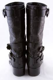 CHRISTIAN DIOR Black leather quilted strappy buckled biker boots ... & CHRISTIAN DIOR Black leather quilted strappy buckled biker boots size 6 (36) Adamdwight.com