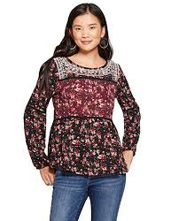 Knox Rose Womens Floral Print Long Sleeve Embroidered