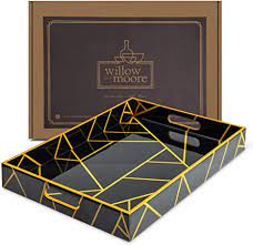 Raise your hostess game with the gold coffee table tray. Amazon Com Large Decorative Serving Tray For Coffee Table Black And Gold Tray Ottoman Tray Home Decor Wooden Trays With Handles Coffee Table Tray Wood Tray For Coffee Table Ideal For Home