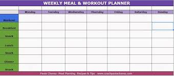 workout planner template coach paula chavez meal planner