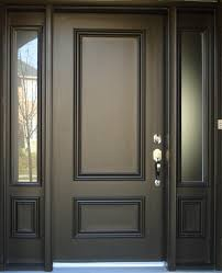 dark brown painted color best solid wood exterior door with narrow frosted glass window panels ideas