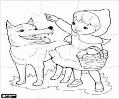 Kleurplaat Puzzel Van Roodkapje En De Wolf Kleurplaten