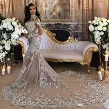 retro sparkly 2017 wedding dresses sheer mermaid beaded lace high