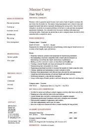 Hair stylist resume