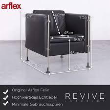 Arflex Felix Designer Leder Sessel Schwarz Echtleder Stuhl