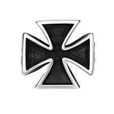 mens stainless steel cool large ring biker heavy iron cross ring man black oil painting men s