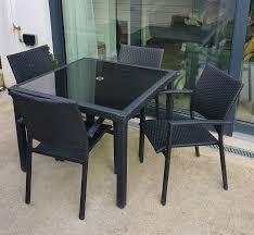 chairs black garden dining set homebase