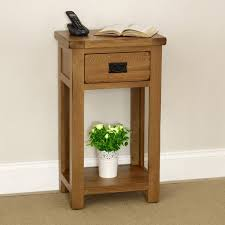 rustic oak small hall console table