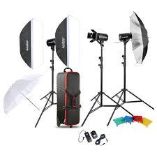 lighting set. godox professional photography photo studio speedlite lighting lamp kit set with 3 300w flash strobe light stand softbox soft reflector umbrella