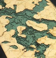 Moosehead Lake 3 D Nautical Wood Chart 13 5 X 31
