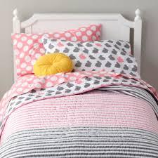 GIRLS BEDDING - KIDS ROOM DECOR & Girls Bedding: Grey Pink Bunny Bedding - Twin Pink Stripe Quilt Adamdwight.com