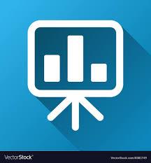 Bar Chart Presentation Board Gradient Square Icon