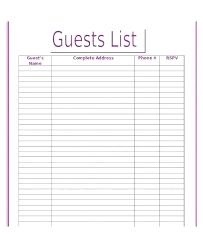 Wedding Planning Guest List Template Wedding Reception Guest